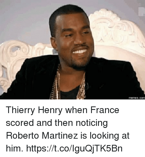 Soccer, France, and Thierry Henry: Thierry Henry when France scored and then noticing Roberto Martinez is looking at him. https://t.co/IguQjTK5Bn