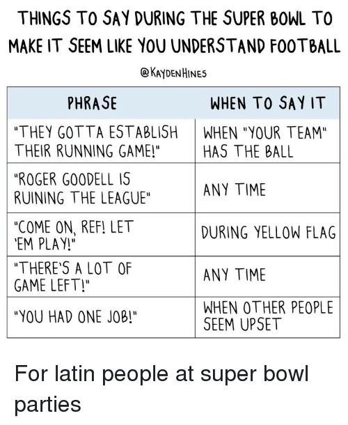 """Football, Roger, and Super Bowl: THINGS TO SAY DURING THE SUPER BOWL TO  MAKE IT SEEM LIKE YOU UNDERSTAND FOOTBALL  @KAYDENHINES  PHRASE  WHEN TO SAY IT  """"THEY GOTTA ESTABLISH WHEN """"YOUR TEAM""""  THEIR RUNNING GAME!"""" HAS THE BALL  """"ROGER GO0DELL IS  RUINING THE LEAGUE""""  """"COME ON, REF! LET  EM PLAY!  """"THERE'S A LOT OF  GAME LEFT!  """"YOU HAD ONE JOB!""""  ANY TIME  DURING YELLOW FLAG  ANY TIME  WHEN OTHER PEOPLE  SEEM UPSET For latin people at super bowl parties"""
