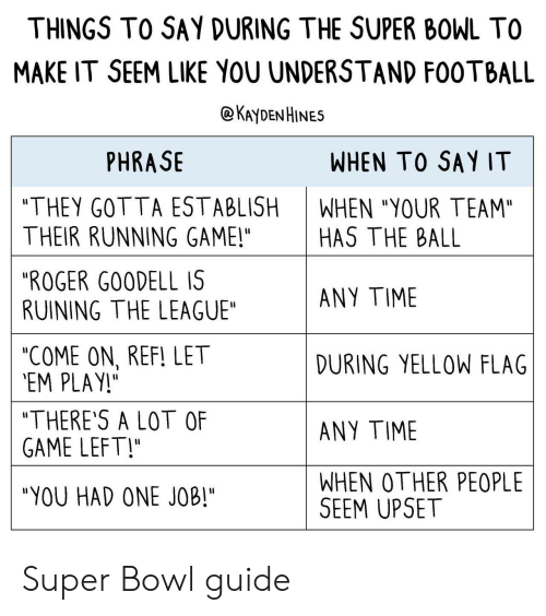 """Reffing: THINGS TO SAY DURING THE SUPER BOWL TO  MAKE IT SEEM LIKE YOU UNDERSTAND F00TBALL  @KAyDENHINES  PHRASE  WHEN TO SAY IT  """"THEY GOTTA ESTABLISH  THEIR RUNNING GAME!""""  """"ROGER G00DELL IS  RUINING THE LEAGUE""""  """"COME ON, REF! LET  EM PLAY!  """"THERE'S A LOT OF  GAME LEFT!  """"YOU HAD ONE JOB""""  WHEN """"YOUR TEAM""""  HAS THE BALL  ANY TIME  DURING YELLOW FLAG  ANY TIME  WHEN OTHER PEOPLE  SEEM UPSET Super Bowl guide"""
