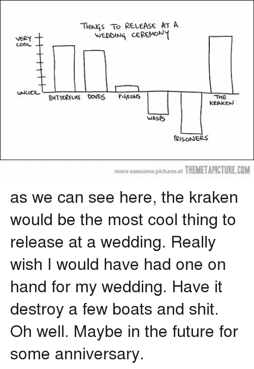 kraken: THINKS TO RELEASE AT A  WEDDING CEREMON  BUTTERFLIES DOVES PiGEDNS  THE  KRAKEN  WASPS  RISONNERS  more awesome pictures at THEMETAPİCTURE.COM as we can see here, the kraken would be the most cool thing to release at a wedding. Really wish I would have had one on hand for my wedding. Have it destroy a few boats and shit. Oh well. Maybe in the future for some anniversary.