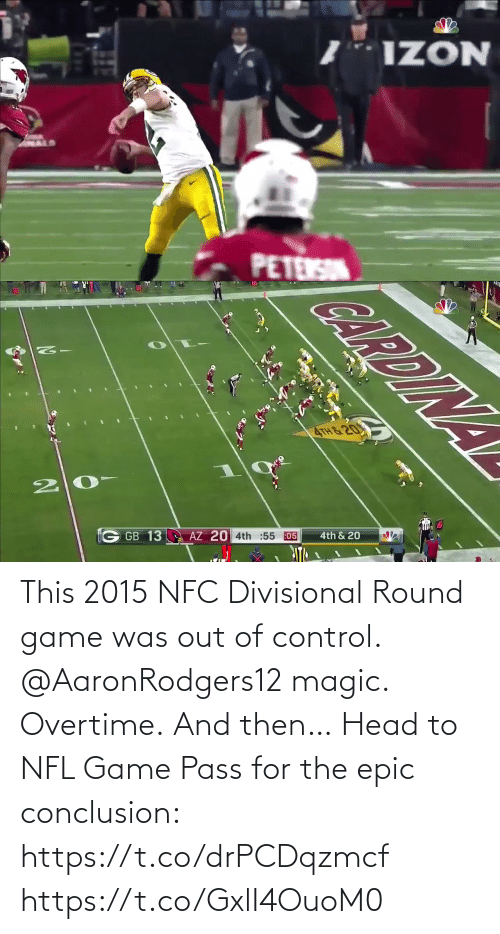 Was: This 2015 NFC Divisional Round game was out of control.  @AaronRodgers12 magic. Overtime. And then…   Head to NFL Game Pass for the epic conclusion: https://t.co/drPCDqzmcf https://t.co/GxlI4OuoM0