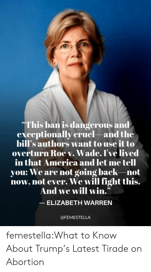 "merica: ""This ban is dangerous and  exceptionally cruel and the  bill's authors want to use it to  overturn Roe v. Wade. I've lived  merica and let me tell  in that America an  you: We are not going back-not  now, not ever. We will fight this.  And we will win.""  ELIZABETH WARREN  @FEMESTELLA femestella:What to Know About Trump's Latest Tirade on Abortion"