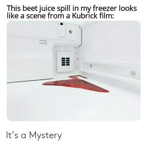 beet: This beet juice spill in my freezer looks  like a scene from a Kubrick film: It's a Mystery