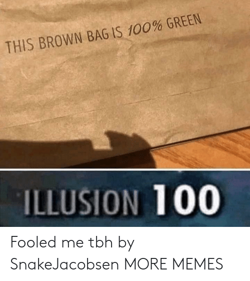 Illusion 100: THIS BROWN BAG IS 100% GREEN  ILLUSION 100 Fooled me tbh by SnakeJacobsen MORE MEMES