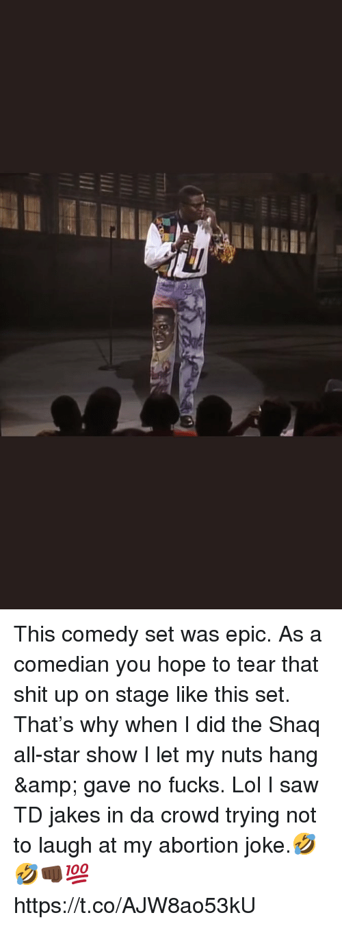 Jakes: This comedy set was epic. As a comedian you hope to tear that shit up on stage like this set. That's why when I did the Shaq all-star show I let my nuts hang & gave no fucks. Lol I saw TD jakes in da crowd trying not to laugh at my abortion joke.🤣🤣👊🏿💯 https://t.co/AJW8ao53kU