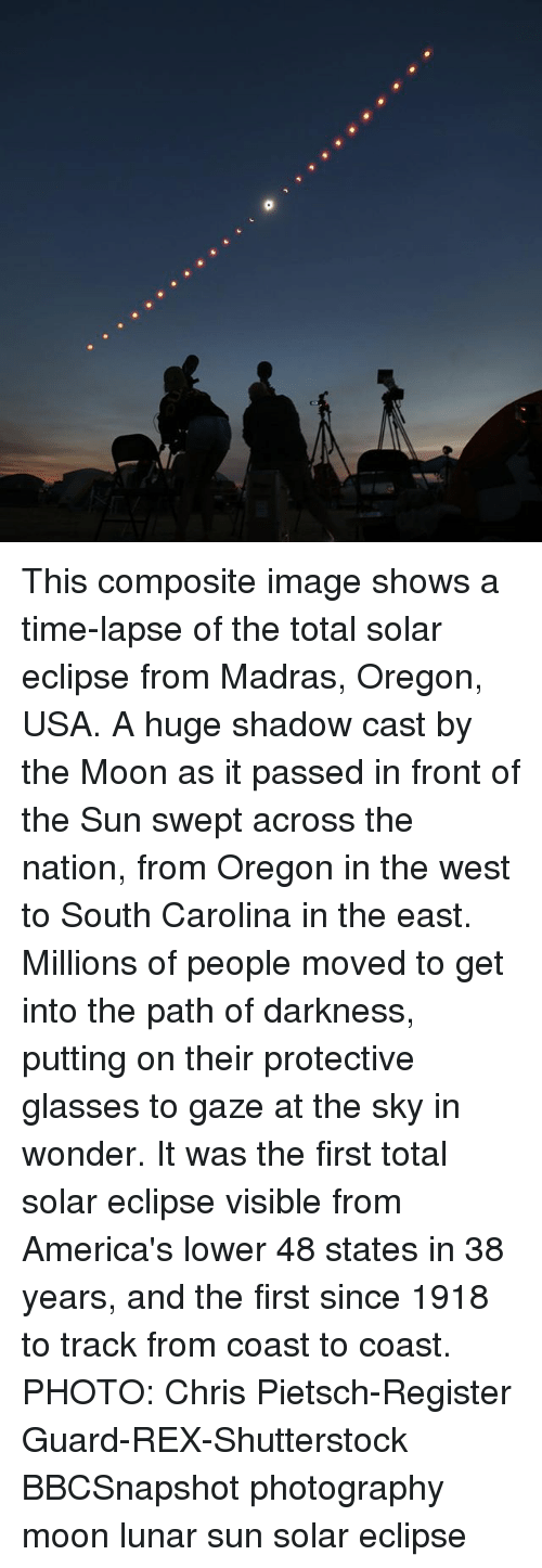 Fronting: This composite image shows a time-lapse of the total solar eclipse from Madras, Oregon, USA. A huge shadow cast by the Moon as it passed in front of the Sun swept across the nation, from Oregon in the west to South Carolina in the east. Millions of people moved to get into the path of darkness, putting on their protective glasses to gaze at the sky in wonder. It was the first total solar eclipse visible from America's lower 48 states in 38 years, and the first since 1918 to track from coast to coast. PHOTO: Chris Pietsch-Register Guard-REX-Shutterstock BBCSnapshot photography moon lunar sun solar eclipse