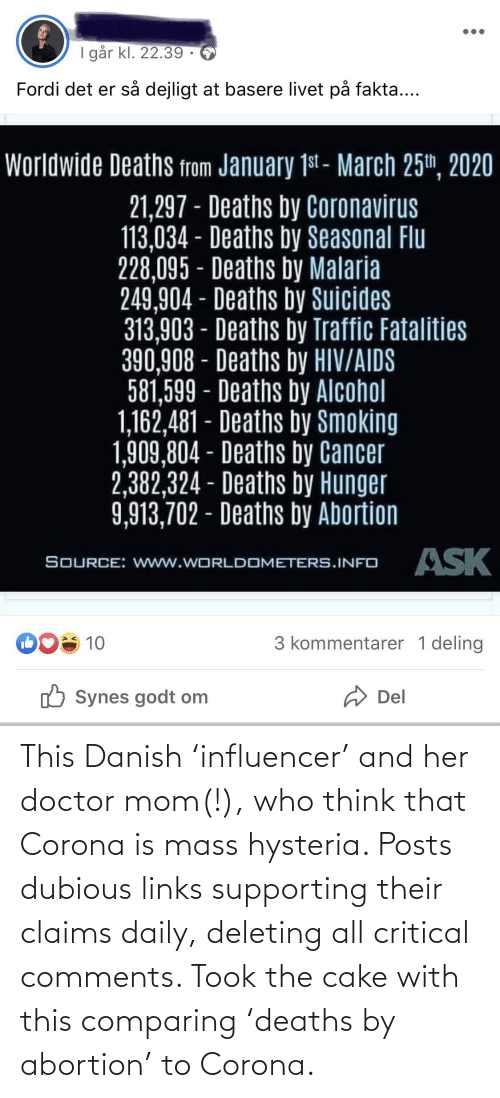 links: This Danish 'influencer' and her doctor mom(!), who think that Corona is mass hysteria. Posts dubious links supporting their claims daily, deleting all critical comments. Took the cake with this comparing 'deaths by abortion' to Corona.