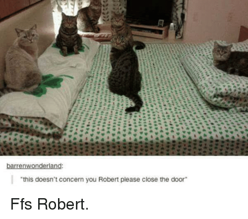 Close The Door: this doesn't concern you Robert please close the door Ffs Robert.