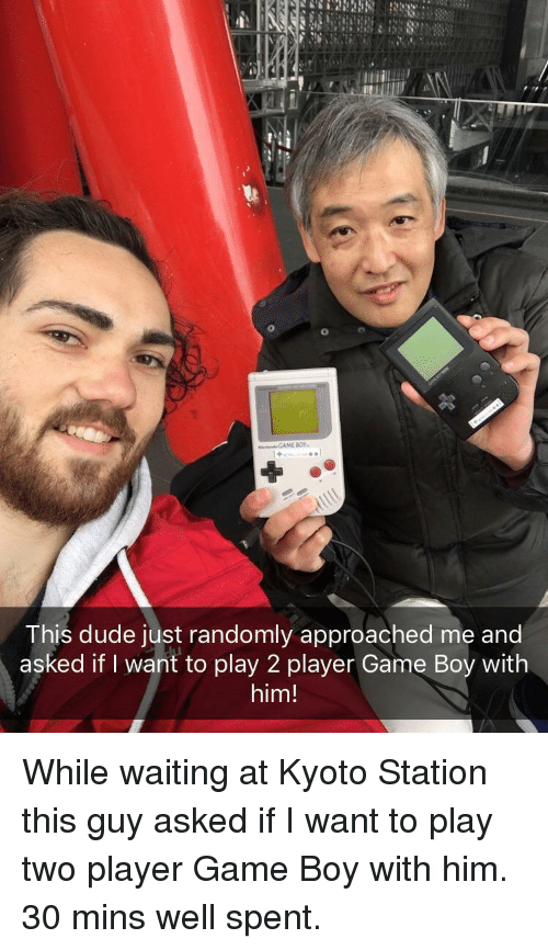 kyoto: This dude just randomly approached me and  asked if I want to play 2 player Game Boy with  him! <p>While waiting at Kyoto Station this guy asked if I want to play two player Game Boy with him. 30 mins well spent.</p>