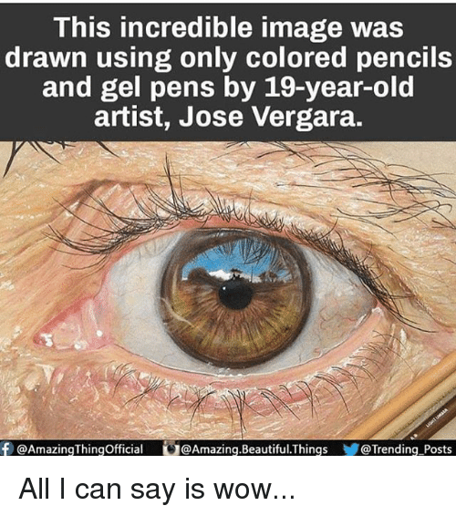 All I Can Say Is: This incredible image was  drawn using only colored pencils  and gel pens by 19-year-old  artist, Jose Vergara.  f Amazing Thingofficial G@Amazing.Beautiful.Things @Trending Posts All I can say is wow...
