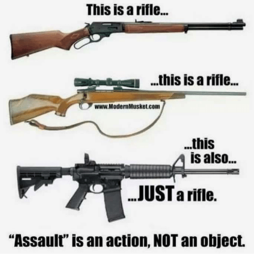 """Rifle: This is a rifle...  .his is a rifle..  www.ModernMusket.com  ..this  is also...  JUST a riflie.  """"Assault"""" is an action, NOT an object."""