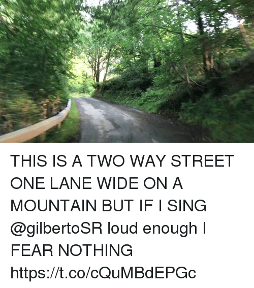 Memes, Fear, and 🤖: THIS IS A TWO WAY STREET ONE LANE WIDE ON A MOUNTAIN BUT IF I SING @gilbertoSR loud enough I FEAR NOTHING https://t.co/cQuMBdEPGc