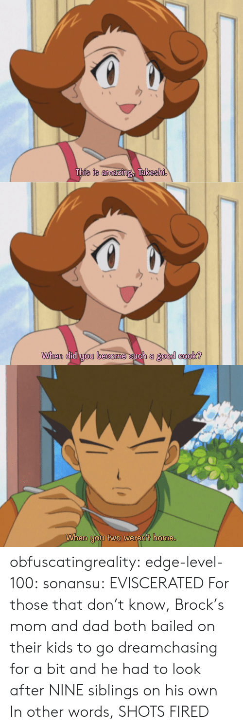 Brock: This is amazing, Takeshi   When did you become such a good cook?   When you two weren't home. obfuscatingreality: edge-level-100:  sonansu: EVISCERATED   For those that don't know, Brock's mom and dad both bailed on their kids to go dreamchasing for a bit and he had to look after NINE siblings on his own In other words, SHOTS FIRED