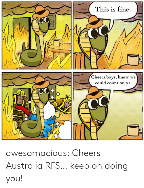 fine: This is fine.  Cheers boys, knew we  could count on ya. awesomacious:  Cheers Australia RFS… keep on doing you!