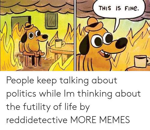 Keep Talking: THIS IS FINe.  OC People keep talking about politics while Im thinking about the futility of life by reddidetective MORE MEMES