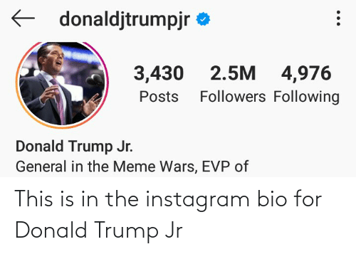 Donald Trump: This is in the instagram bio for Donald Trump Jr