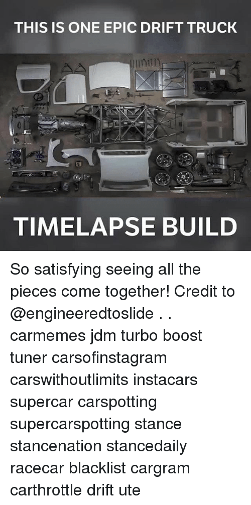 Epicly: THIS IS ONE EPIC DRIFT TRUCK  TIMELAPSE BUILD So satisfying seeing all the pieces come together! Credit to @engineeredtoslide . . carmemes jdm turbo boost tuner carsofinstagram carswithoutlimits instacars supercar carspotting supercarspotting stance stancenation stancedaily racecar blacklist cargram carthrottle drift ute