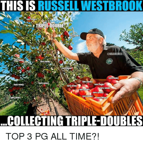 Russell Westbrook: THIS IS RUSSELL WESTBROOK  TRIPLE-DOUBLES  TRIPLE-DOUBLE  TRIPLE DOUBLE  @NBAMEMES  TRIPLE DOUBLE  TRIPLE-DOUBLE  TRIPLE DOUBLE  TRIPLE-DOUBLE  TRIPLE DOUBLE  TRIPLE DOUBLE  TRIPLE DOUBl  ,  TRIPLE-DOUBLE  TRIPLE-DOUBLE  RIPLE-DOUBLE  TRIPLE DOUBLE  TRIPLE-DOUBLE  TRIPLE DOUBLE  IRIPLE-DOUBLE  TRIPLE-DOUBLE  COLLECTING TRIPLE-DOUBLES TOP 3 PG ALL TIME?!