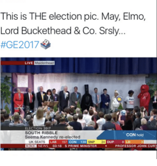Lord Buckethead: This is THE election pic. May, Elmo,  Lord Buckethead & Co. Srsly.  #GE20174  ELECTION 2017  SOUTH RIBBLE  Seema Kennedy re-elected  CON hold  LAB 157 CON 139  UK SEATS  BBC NEWS 03:18 S PRIME MINISTER P  SNP 24  DUP 8  PROFESSOR JOHN CUR
