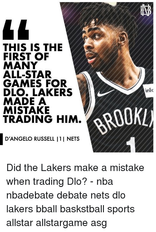 All Star, Los Angeles Lakers, and Memes: THIS IS THE  FIRST OF  MANY  ALL-STAR  GAMES FOR  DLO. LAKERS  MADE A  MISTAKE  TRADING HIM.  infc  ROOKL)  D'ANGELO RUSSELL I1I NETS Did the Lakers make a mistake when trading Dlo? - nba nbadebate debate nets dlo lakers bball baskstball sports allstar allstargame asg