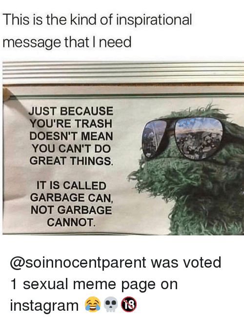 Instagram, Meme, and Memes: This is the kind of inspirational  message that I need  JUST BECAUSE  YOU'RE TRASH  DOESN'T MEAN  YOU CAN'T DO  GREAT THINGS  IT IS CALLED  GARBAGE CAN,  NOT GARBAGE  CANNOT @soinnocentparent was voted 1 sexual meme page on instagram 😂💀🔞
