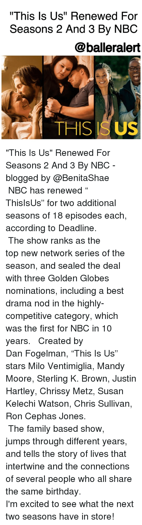 """Same Birthday: """"This Is Us"""" Renewed For  Seasons 2 And 3 By NBC  @balleralert  THIS ISUS """"This Is Us"""" Renewed For Seasons 2 And 3 By NBC -blogged by @BenitaShae ⠀⠀⠀⠀⠀⠀⠀⠀⠀ ⠀⠀⠀⠀⠀⠀⠀⠀⠀ NBC has renewed """" ThisIsUs"""" for two additional seasons of 18 episodes each, according to Deadline. ⠀⠀⠀⠀⠀⠀⠀⠀⠀ ⠀⠀⠀⠀⠀⠀⠀⠀⠀ The show ranks as the top new network series of the season, and sealed the deal with three Golden Globes nominations, including a best drama nod in the highly-competitive category, which was the first for NBC in 10 years. ⠀⠀⠀⠀⠀⠀⠀⠀⠀ ⠀⠀⠀⠀⠀⠀⠀⠀⠀ Created by Dan Fogelman, """"This Is Us"""" stars Milo Ventimiglia, Mandy Moore, Sterling K. Brown, Justin Hartley, Chrissy Metz, Susan Kelechi Watson, Chris Sullivan, Ron Cephas Jones. ⠀⠀⠀⠀⠀⠀⠀⠀⠀ ⠀⠀⠀⠀⠀⠀⠀⠀⠀ The family based show, jumps through different years, and tells the story of lives that intertwine and the connections of several people who all share the same birthday. ⠀⠀⠀⠀⠀⠀⠀⠀⠀ ⠀⠀⠀⠀⠀⠀⠀⠀⠀ I'm excited to see what the next two seasons have in store!"""
