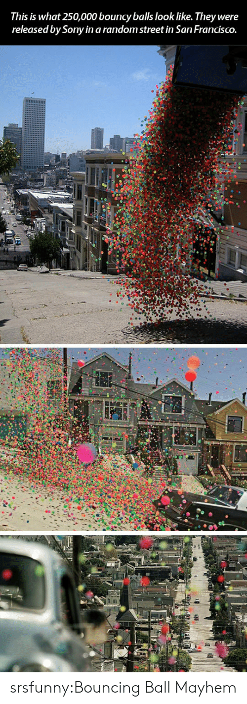 Sony, Tumblr, and Blog: This is what 250,000 bouncy balls look like. They were  released by Sony in a random street in San FrancISCO. srsfunny:Bouncing Ball Mayhem