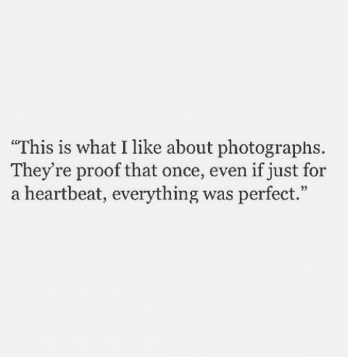 """Proof, Once, and What: """"This is what I like about photographs  They're proof that once, even if just for  a heartbeat, everything was perfect."""""""