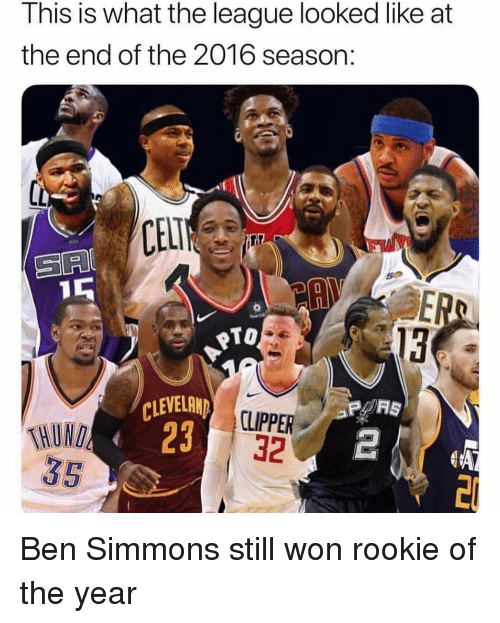 Ben Simmons: This is what the league looked like at  the end of the 2016 season:  SA  TO  13  CLEVELAN  23  CLIPPER  32  THUN Ben Simmons still won rookie of the year