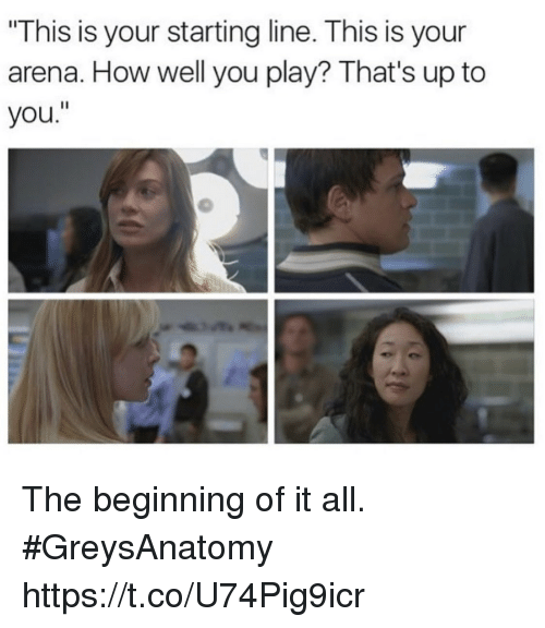 """Memes, 🤖, and How: This is your starting line. This is your  arena. How well you play? That's up to  you."""" The beginning of it all. #GreysAnatomy https://t.co/U74Pig9icr"""