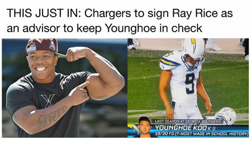 Nfl, Ray Rice, and School: THIS JUST IN: Chargers to sign Ray Rice as  an advisor to keep Younghoe in check  LAST SEASON AT GEORGIA SOUTHERN  YOUNGHOE KOOK9  19/20 FG T-MOST MADE IN SCHOOL HISTORY