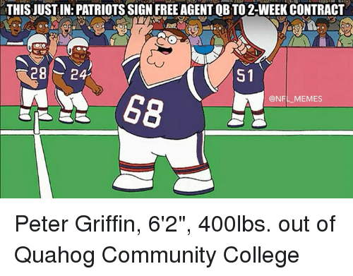 """Peter Griffin: THIS JUSTIN: PATRIOTSSIGN FREE AGENTOBTO 2-WEEK CONTRACT  28  24  S1  @NFL MEMES Peter Griffin, 6'2"""", 400lbs. out of Quahog Community College"""
