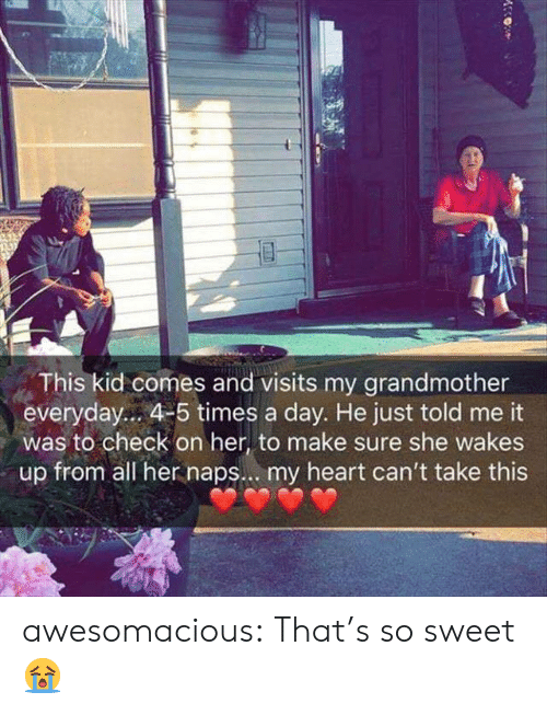 Tumblr, Blog, and Heart: This kid comes and visits my grandmother  everyday... 4-5 times a day. He just told me it  was to check on her, to make sure she wakes  up from all her naps... my heart can't take this awesomacious:  That's so sweet 😭