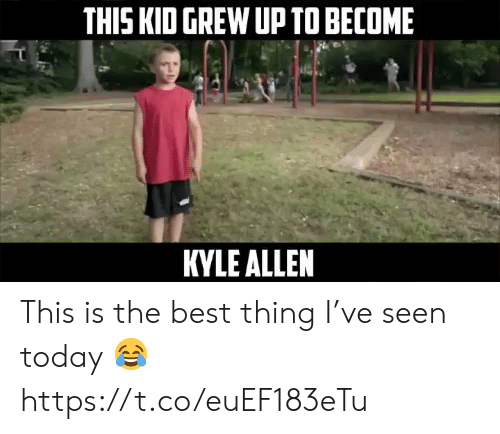 Nfl, Best, and Today: THIS KID GREW UP TO BECOME  KYLE ALLEN This is the best thing I've seen today ? https://t.co/euEF183eTu