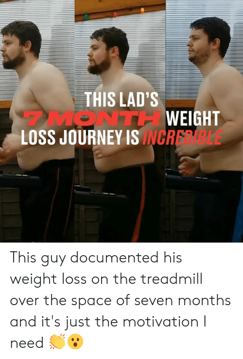 Treadmill: THIS LAD'S  MONTHWEIGHT  LOSS JOURNEY ISINCRELE This guy documented his weight loss on the treadmill over the space of seven months and it's just the motivation I need 👏😮