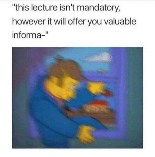 "mandatory: ""this lecture isn't mandatory,  however it will offer you valuable  informa-"""