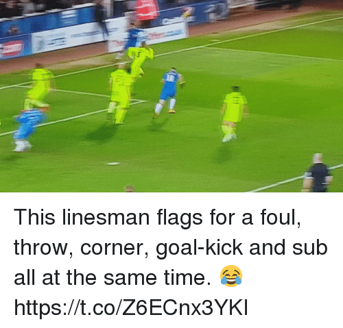 Soccer, Goal, and Time: This linesman flags for a foul, throw, corner, goal-kick and sub all at the same time. 😂 https://t.co/Z6ECnx3YKI