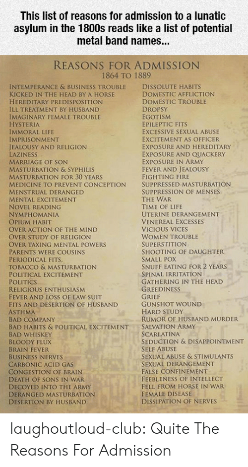 affliction: This list of reasons for admission to a lunatic  asylum in the 1800s reads like a list of potential  metal band names...  REASONS FOR ADMISSION  1864 TO 1889  INTEMPERANCE & BUSINESS TROUBLE DISSOLUTE HABITS  KICKED IN THE HEAD BY A HORSE  HEREDITARY PREDISPOSITION  ILL TREATMENT BY HUSBAND  IMAGINARY FEMALE TROUBLE  HYSTERIA  IMMORAL LIFE  IMPRISONMENT  JEALOUSY AND RELIGION  LAZINESS  MARRIAGE OF SON  MASTURBATION & SYPHILIS  MASTURBATION FOR 30 YEARS  MEDICINE TO PREVENT CONCEPTION SUPPRESSED MASTURBATION  MENSTRUAL DERANGED  MENTAL EXCITEMENT  NOVEL READING  NYMPHOMANIA  OPIUM HABIT  OVER ACTION OF THE MIND  OVER STUDY OF RELIGION  OVER TAXING MENTAL POWERS  PARENTS WERE COUSINS  PERIODICAL FITS  TOBACCO & MASTURBATION  POLITICAL EXCITEMENT  POLITICS  RELIGIOUS ENTHUSIASM  FEVER AND LOSS OF LAW SUIT  FITS AND DESERTION OF HUSBAND  ASTHMA  BAD COMPANY  BAD HABITS & POLITICAL EXCITEMENTSALVATION ARMY  BAD WHISKEY  BLOODY FLUX  BRAIN FEVER  BUSINESS NERVES  CARBONIC ACID GAS  CONGESTION OF BRAIN  DEATH OF SONS IN WAR  DECOYED INTO THE ARMY  DERANGED MASTURBATION  DESERTION BY HUSBAND  DOMESTIC AFFLICTION  DOMESTIC TROUBLE  DROPSY  EGOTISM  EPILEPTIC FITS  EXCESSIVE SEXUAL ABUSE  EXCITEMENT AS OFFICER  EXPOSURE AND HEREDITARY  EXPOSURE AND QUACKERY  EXPOSURE IN ARMY  FEVER AND JEALOUSY  FIGHTING FIRE  SUPPRESSION OF MENSES  THE WAR  TIME OF LIFE  UTERINE DERANGEMENT  VENEREAL EXCESSES  VICIOUS VICES  WOMEN TROUBLE  SUPERSTITION  SHOOTING OF DAUGHTER  SMALL POX  SNUFF EATING FOR 2 YEARS  SPINAL IRRITATION  GATHERING IN THE HEAD  GREEDINESS  GUNSHOT WOUND  HARD STUDy  RUMOR OF HUSBAND MURDER  SCARLATINA  SEDUCTION & DISAPPOINTMENT  SELF ABUSE  SEXUAL ABUSE & STIMULANTS  SEXUAL DERANGEMENT  FALSE CONFINEMENT  FEEBLENESS OF INTELLECT  FELL FROM HORSE IN WAR  FEMALE DISEASE  DISSIPATION OF NERVES laughoutloud-club:  Quite The Reasons For Admission