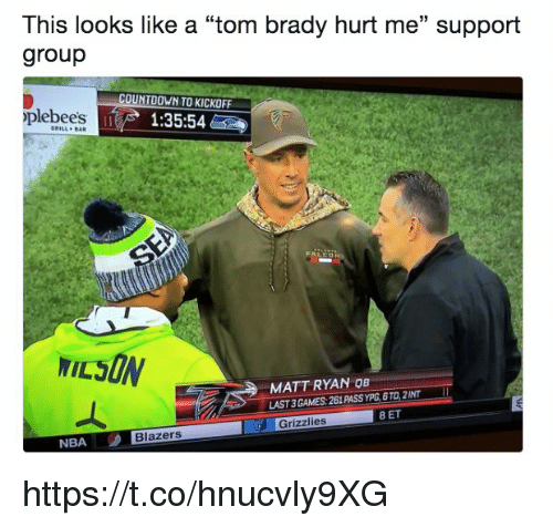 """Countdown, Memphis Grizzlies, and Memes: This looks like a """"tom brady hurt me"""" support  group  COUNTDOWN TO KICKOFF  plebees  1:35:54  GRILL BaR  MATT RYAN OB  LAST 3 GAMES: 261 PASS YPG,6TD,2INT  Grizzlies 8 ET  Grizzlies  NBA  Blazers https://t.co/hnucvly9XG"""
