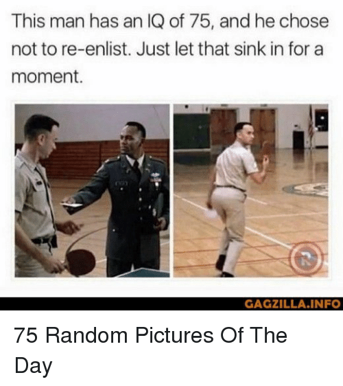 Pictures, Random, and Man: This man has an IQ of 75, and he chose  not to re-enlist. Just let that sink in for a  moment.  GAGZILLA.INFO 75 Random Pictures Of The Day