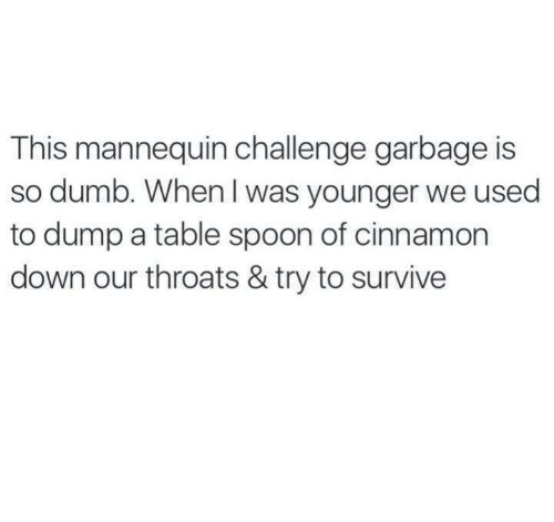 Mannequin Challeng: This mannequin challenge garbage is  so dumb. When was younger we used  to dump a table spoon of cinnamon  down our throats & try to survive
