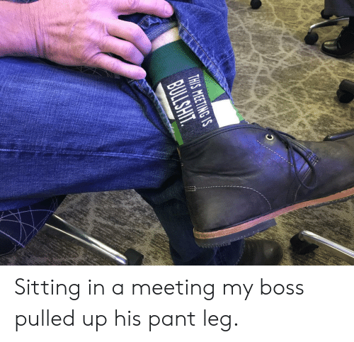 Pant: THIS MEETING S Sitting in a meeting  my boss pulled up his pant leg.