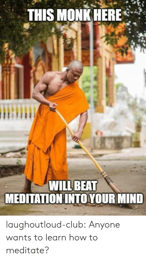Meditation: THIS MONK HERE*  WILL BEAT  MEDITATION INTO YOUR MIND laughoutloud-club:  Anyone wants to learn how to meditate?