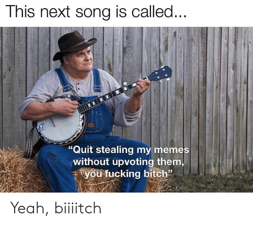 "Bitch, Fucking, and Memes: This next song is called...  ""Quit stealing my memes  without upvoting them,  you fucking bitch"" Yeah, biiiitch"