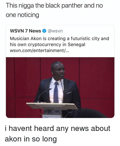 Akon, Memes, and News: This nigga the black panther and no  one noticing  WSVN 7 News@wsvn  Musician Akon is creating a futuristic city and  his own cryptocurrency in Senegal  wsvn.com/entertainment,/ i havent heard any news about akon in so long