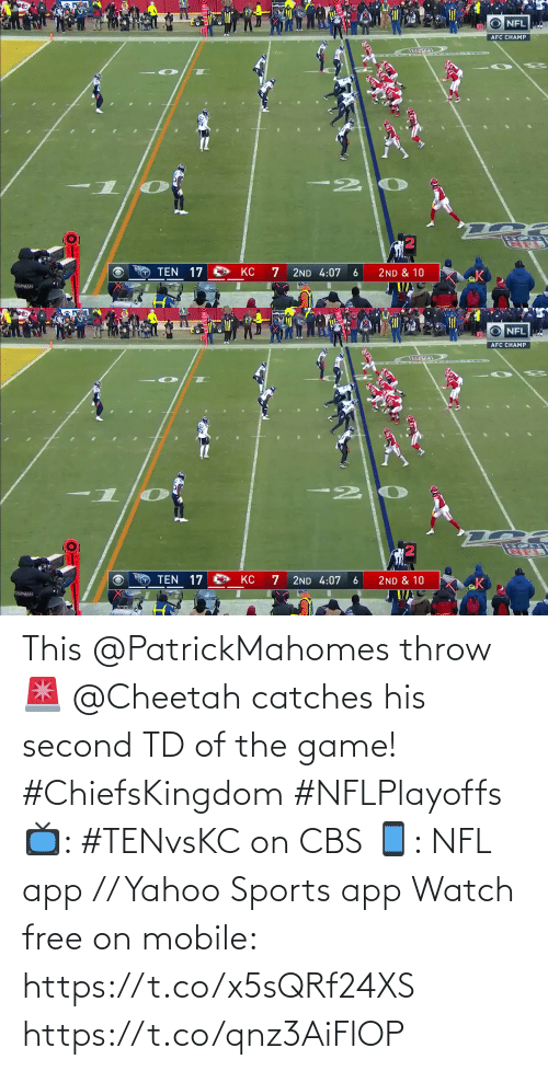 The Game: This @PatrickMahomes throw 🚨  @Cheetah catches his second TD of the game! #ChiefsKingdom #NFLPlayoffs  📺: #TENvsKC on CBS 📱: NFL app // Yahoo Sports app Watch free on mobile: https://t.co/x5sQRf24XS https://t.co/qnz3AiFlOP