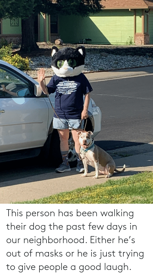 out: This person has been walking their dog the past few days in our neighborhood. Either he's out of masks or he is just trying to give people a good laugh.