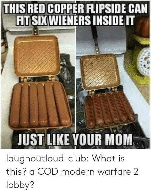 Club, Tumblr, and Blog: THIS RED COPPER FLIPSIDE CAN  FIT SIXWIENERS INSIDE IT  JUST LIKE YOUR MOM laughoutloud-club:  What is this? a COD modern warfare 2 lobby?