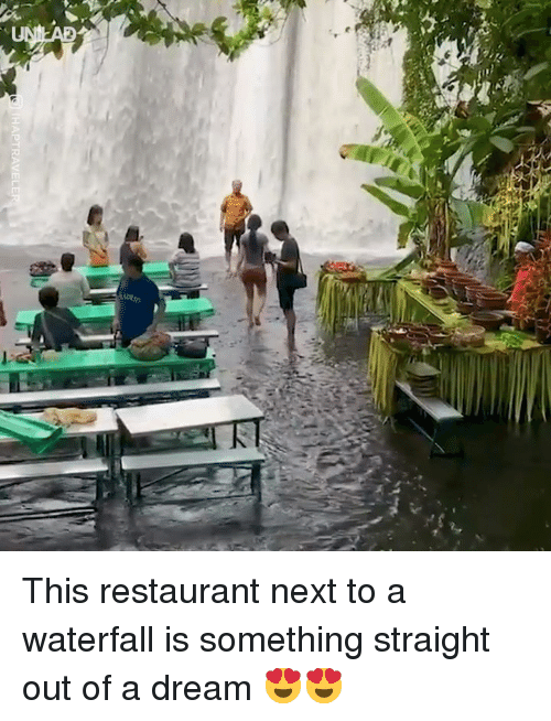 A Dream, Dank, and Restaurant: This restaurant next to a waterfall is something straight out of a dream 😍😍