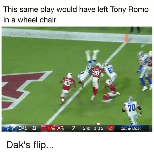 Nfl, Tony Romo, and Goal: This same play would have left Tony Romo  in a wheel chair  28  20  DAL O  ARI 7 2ND 1:12 40 1st & Goal Dak's flip...